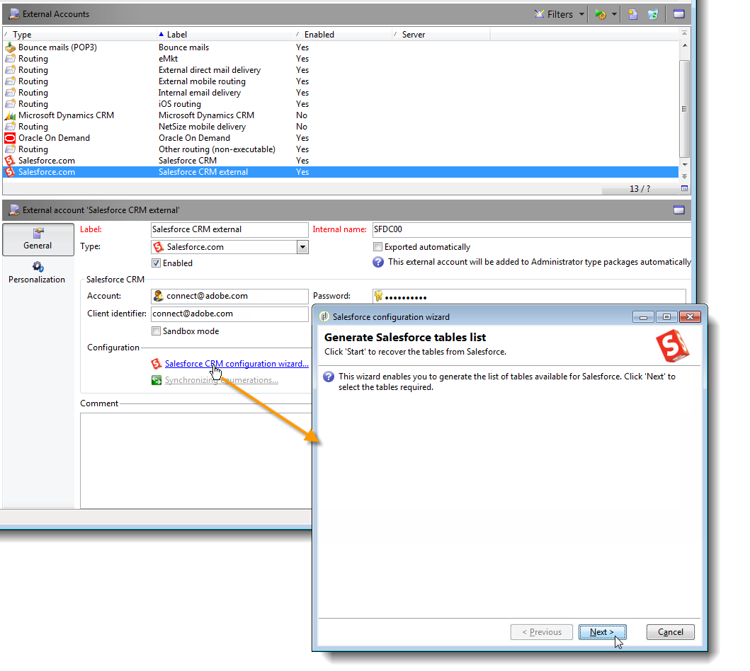Salesforce CRM Connector for Adobe Campaign