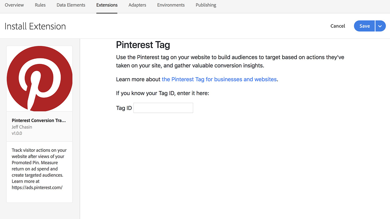 Pinterest Conversion Tracking For Adobe Launch